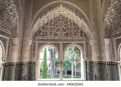 Granada, Spain - August 11, 2015: The Banuelo, Arab baths in good condition, in the old town of Granada, near the fortress of the Alhambra, Andalusia, Spain.