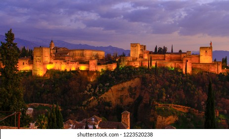 Granada. Spain. The beauty of the alhambra with the mountains of the sierra nevada in the background