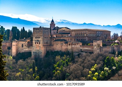 Granada, Spain: The Charles V (Carlos V) royal palace part of the Alhambra palace and fortress complex.