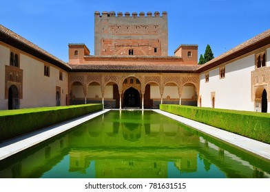 GRANADA, SPAIN - CIRCA JUNE 2017: Court of the Myrtles in Nasrid Palace in Alhambra