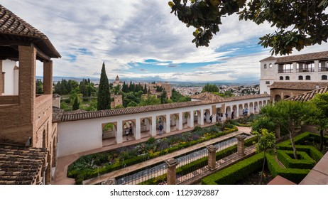GRANADA, SPAIN - CIRCA JUNE, 2018: Alhambra Palace, UNESCO site in Granada, Andalucia.