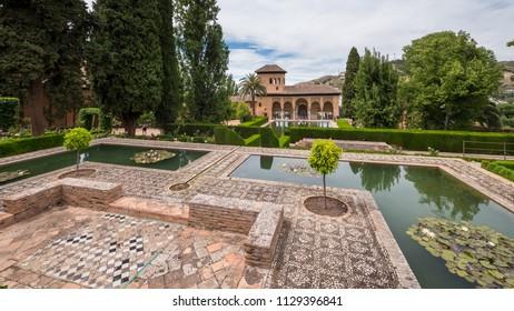 GRANADA, SPAIN - CIRCA JUNE, 2018: Alhambra Palace outdoors view, UNESCO site in Granada , Andalucia.