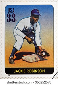 GRANADA, SPAIN - DECEMBER 1, 2015: A stamp printed in USA dedicated to Legends of Baseball shows Jackie Robinson, 2000