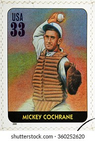 GRANADA, SPAIN - DECEMBER 1, 2015: A stamp printed in USA dedicated to Legends of Baseball shows Mickey Cochrane, 2000
