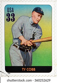 GRANADA, SPAIN - DECEMBER 1, 2015: A stamp printed in USA dedicated to Legends of Baseball shows Ty Cobb, 2000