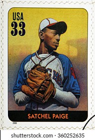 GRANADA, SPAIN - DECEMBER 1, 2015: A stamp printed in USA dedicated to Legends of Baseball shows Satchel Paige, 2000