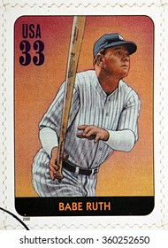 GRANADA, SPAIN - DECEMBER 1, 2015: A stamp printed in USA dedicated to Legends of Baseball shows Babe Ruth, 2000