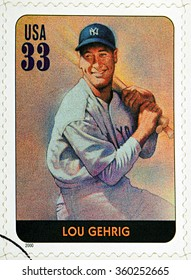 GRANADA, SPAIN - DECEMBER 1, 2015: A stamp printed in USA dedicated to Legends of Baseball shows Lou Gehrig, 2000