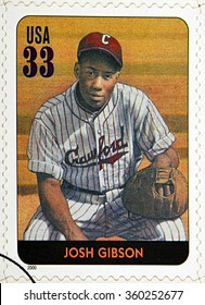 GRANADA, SPAIN - DECEMBER 1, 2015: A stamp printed in USA dedicated to Legends of Baseball shows Josh Gibson, 2000