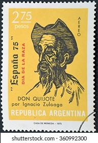 GRANADA, SPAIN - DECEMBER 1, 2015: a stamp printed in Argentina shows Don Quixote, Drawing by Ignacio Zuloaga, 1975