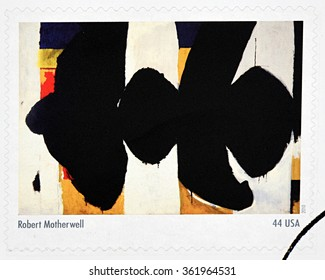 GRANADA, SPAIN - DECEMBER 1, 2015:  A stamp printed in USA dedicated to Abstract Expressionists shows the work Elegy to the Spanish Republic by Robert Motherwell, 2010
