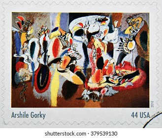 GRANADA, SPAIN - DECEMBER 1, 2015: A stamp printed in USA dedicated to Abstract Expressionists shows the work The lives is the Cock�´s Comb (1944) by Arshile Gorky, 2010