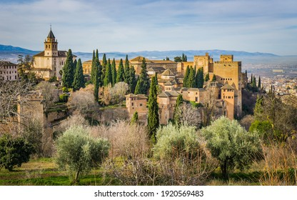 Granada, Spain - December 26th 2019: View on the Alhambra and the city of Granada (Andalucia, Spain) from the Generalife palace