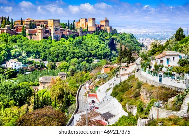 Granada, Spain. Famous Alhambra seen from Sacromonte, Nasrid Emirate fortress, European travel landmark in Andalusia.