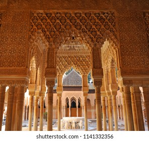 Granada, Spain - Feb 26, 2012: The Court of the Lions (Patio de los Leones) in Alhambra Palace of Granada. World Heritage Site by Unesco. Andalusia, Spain