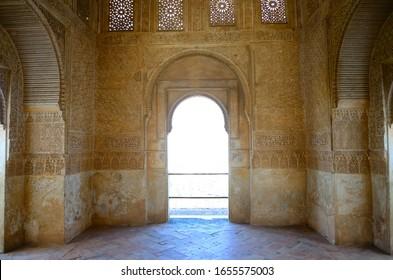 Granada, Spain - February 20, 2020: Cover next to the Patio de la Sultana, La Alhambra, Granada.