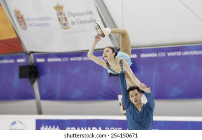 GRANADA, SPAIN - FEBRUARY 6: winter universiade 2015. Figure skating, pairs free skating. YU Xiaoyu / JIN Yang, China.
