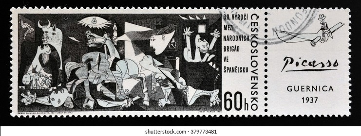"GRANADA, SPAIN - JANUARY 05, 2013: A stamp printed in Czechoslovakia shows painting by Pablo Picasso ""Guernica"" , circa 1966"