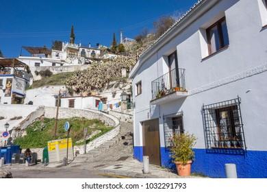 GRANADA, SPAIN- JANUARY 15, 2018: Sacromonte, traditional neighborhood.Granada, Spain.