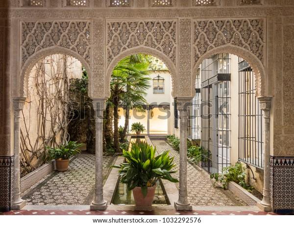 GRANADA, SPAIN- JANUARY 15, 2018: Carmen de los Martires, near to Alhambra, public garden.Granada, Spain.