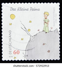 GRANADA, SPAIN - January 31, 2017: a stamp printed in Germany showing an image of The Little Prince a novel of Antoine de Saint-Exupery, 2014