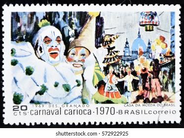 GRANADA, SPAIN - January 31, 2017:  stamp printed in Brazil shows Carnival Scene, 1970