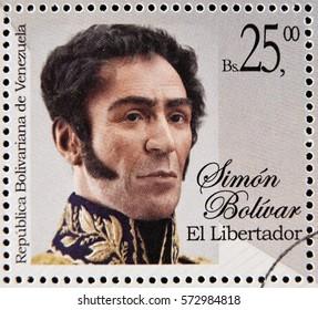 GRANADA, SPAIN - January 31, 2017:  a stamp printed in Venezuela shows Simon Bolivar, Liberator, Revolutionary, Portrait, circa 2015