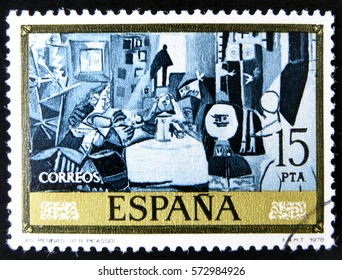 GRANADA, SPAIN - January 31, 2017:  A stamp printed in Spain shows Las Meninas by Pablo Picasso, 1978