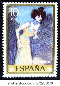 GRANADA, SPAIN - January 31, 2017:  a stamp printed in Spain showing an image of the painting The end of the act by Pablo Picasso, 1978