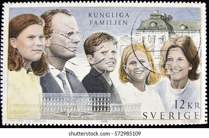 GRANADA, SPAIN - January 31, 2017: A stamp printed in Sweden shows portraits of Crown Princess Victoria, King Carl XVI Gustaf of Sweden, Prince Carl Philip, Princess Madeleine and Queen Silvia, 1993