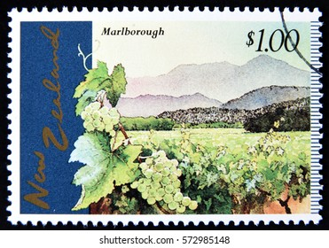 GRANADA, SPAIN - January 31, 2017: A stamp printed in New Zealand, shows Marlborough Vineyards, circa 1997