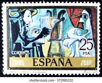 GRANADA, SPAIN - January 31, 2017: stamp printed in Spain, shows Artist and model by Pablo Ruiz Picasso, 1978