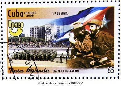 GRANADA, SPAIN - January 31, 2017: A stamp printed in Cuba dedicated to national holidays, shows the day of liberation (January 1), 2008