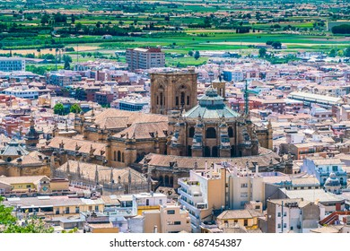 Granada, Spain, july 1, 2017: View on the Granada Cathedral from the old city of La Alhambra