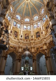 Granada, Spain - July 10, 2019: Beautiful view of the decorated interior of the Cathedral de Granada