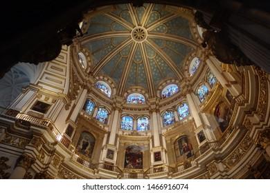 Granada, Spain - July 10, 2019: Beautiful interior view of the dome Cathedral de Granada