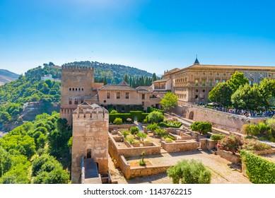 GRANADA, SPAIN -  JULY 12, 2016: Aerial view of the  Alhambra in Granada, Andalusia, Spain.