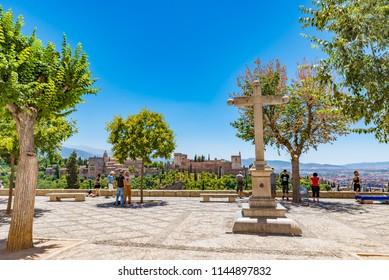 GRANADA, SPAIN -  JULY 12, 2016: Mirador San Nicolas, famous viewpoint in Granada, Andalusia, Spain.