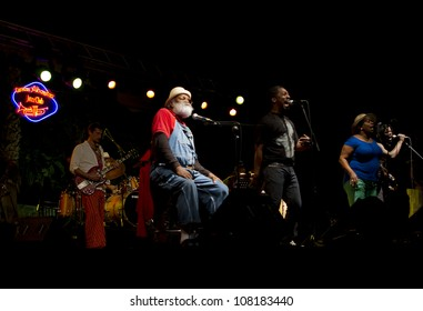 GRANADA, SPAIN - JULY 17: Grandpa Elliot, Playing for Change at the XXV Jazz Festival of Almunecar on july 17, 2012 in Granada, Spain