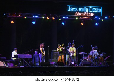 GRANADA, SPAIN - JULY 18 , 2016: Christian Scott, at 29 Festival Jazz en la Costa, Almunecar, Spain. Christian Scott, Braxton Cook, Lawrence Fields, Kriss Funn, Corey Fonville, Elena Pinderhughes.