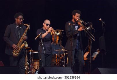 GRANADA. SPAIN - JULY 22, 2015: Dee Dee Bridgewate and Irvin Mayfield, jr. with the new Orleans 7, at 28 International Jazz Festival of Almunecar, Spain.