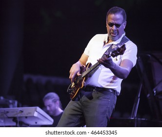 GRANADA, SPAIN - JULY 23, 2016: Stanley Clarke, at 29 International Festival Jazz en la Costa, Almunecar, Spain. Stanley Clarke, guitar.