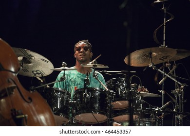 GRANADA, SPAIN - JULY 23, 2016: Stanley Clarke, at 29 International Festival Jazz en la Costa, Almunecar, Spain. Michael Mitchell, drums.