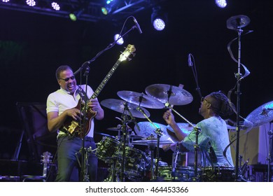 GRANADA, SPAIN - JULY 23, 2016: Stanley Clarke, at 29 International Festival Jazz en la Costa, Almunecar, Spain. Stanley Clarke, guitar, and Michael Mitchell, drums.