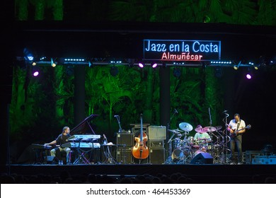 GRANADA, SPAIN - JULY 23, 2016: Stanley Clarke, at 29 International Festival Jazz en la Costa, Almunecar, Spain. Stanley Clarke, Beka Gochiashvili, Michael Mitchell, and Cameron Graves.