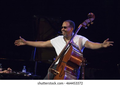 GRANADA, SPAIN - JULY 23, 2016: Stanley Clarke, at 29 International Festival Jazz en la Costa, Almunecar, Spain. Stanley Clarke, double bass.