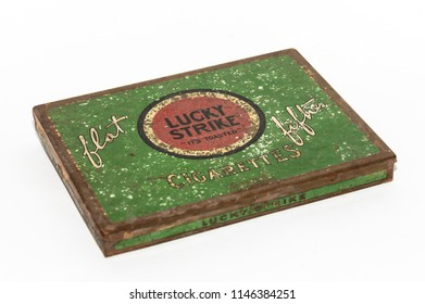 Granada, Spain; July 31, 2018: old tin box of Lucky Strike brand cigars