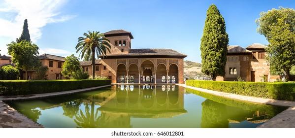 GRANADA, SPAIN - JUNE 14, 2016: Partal Palace in Alhambra palace in Granada in a summer day, Spain on June 14, 2016