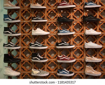 GRANADA, SPAIN - JUNE, 2018: Vans shoes inside store. Vans is an American clothing manufacturer. The brand is available in more than 170 countries worldwide.