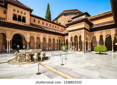 Granada, Spain - June 25, 2018: The Palace of lions is a beautiful structure of the Alhambra, where the private chambers of the Royal family of Mohammed V were located in the Alhambra, Granada, Spain.